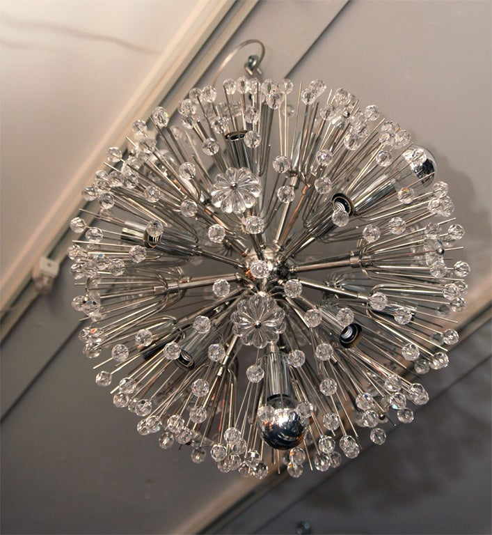 Mid-20th Century Nickel Plated Austrian Snowflake Chandelier For Sale