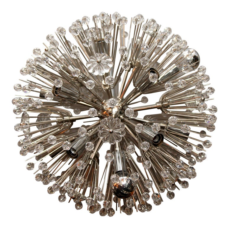 Nickel Plated Austrian Snowflake Chandelier For Sale
