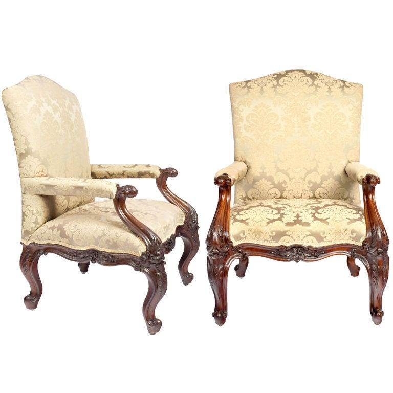 Pair of 19th Century Upholstered Mahogany Armchairs
