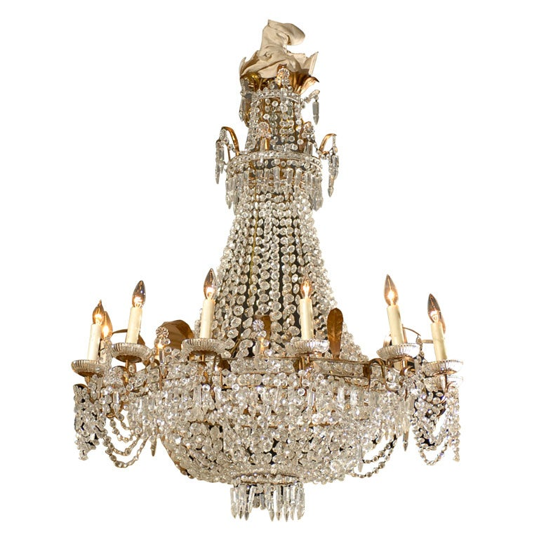 Antique French Crystal Chandelier in the Empire style 1 - Antique French Crystal Chandelier In The Empire Style At 1stdibs