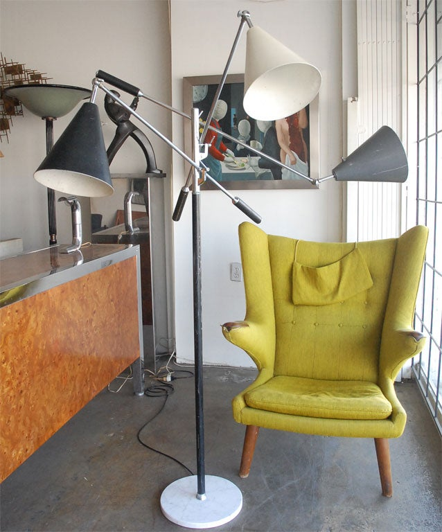 The essential floor lamp made for Arteluce  is one of the icons of the Mid 20th Century design.