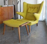 Hans Wegner papa  bear chair and ottoman thumbnail 2
