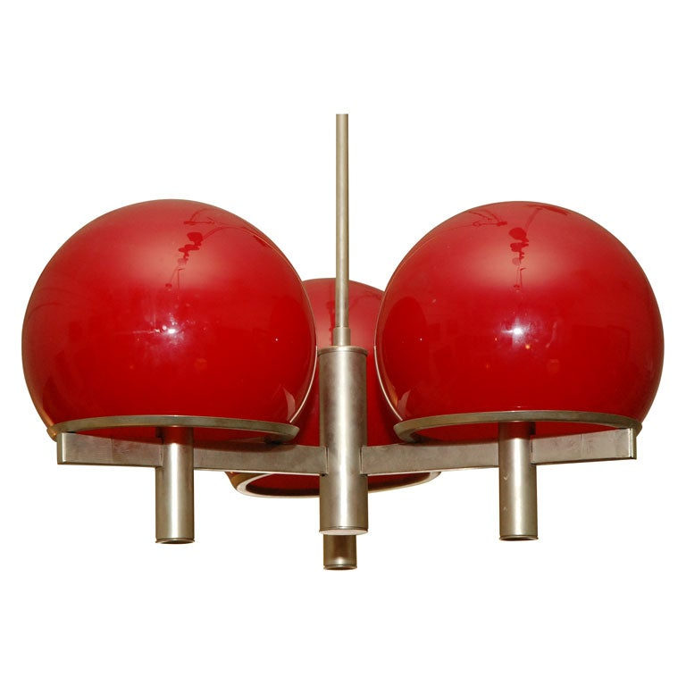 Sciolari Chandelier Chrome And Red Glass Globes At 1stdibs