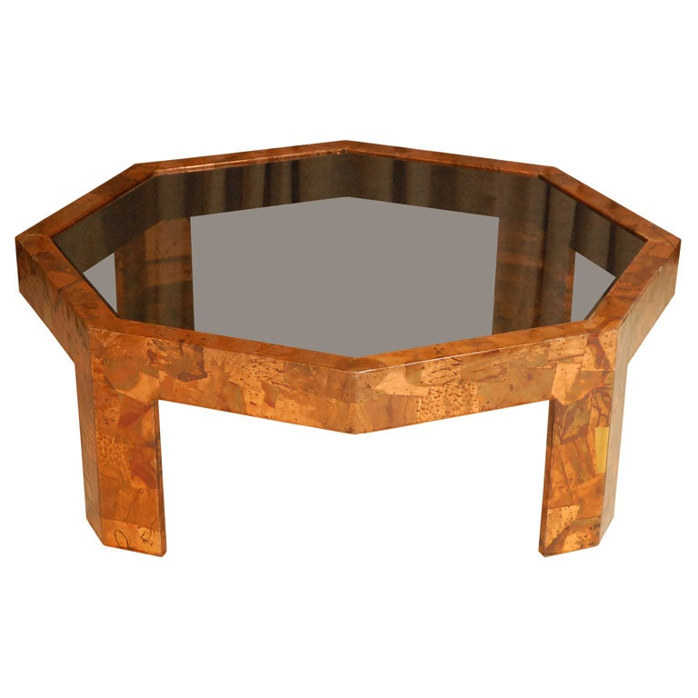 Octagonal copper coffee table at 1stdibs for Octagon coffee table