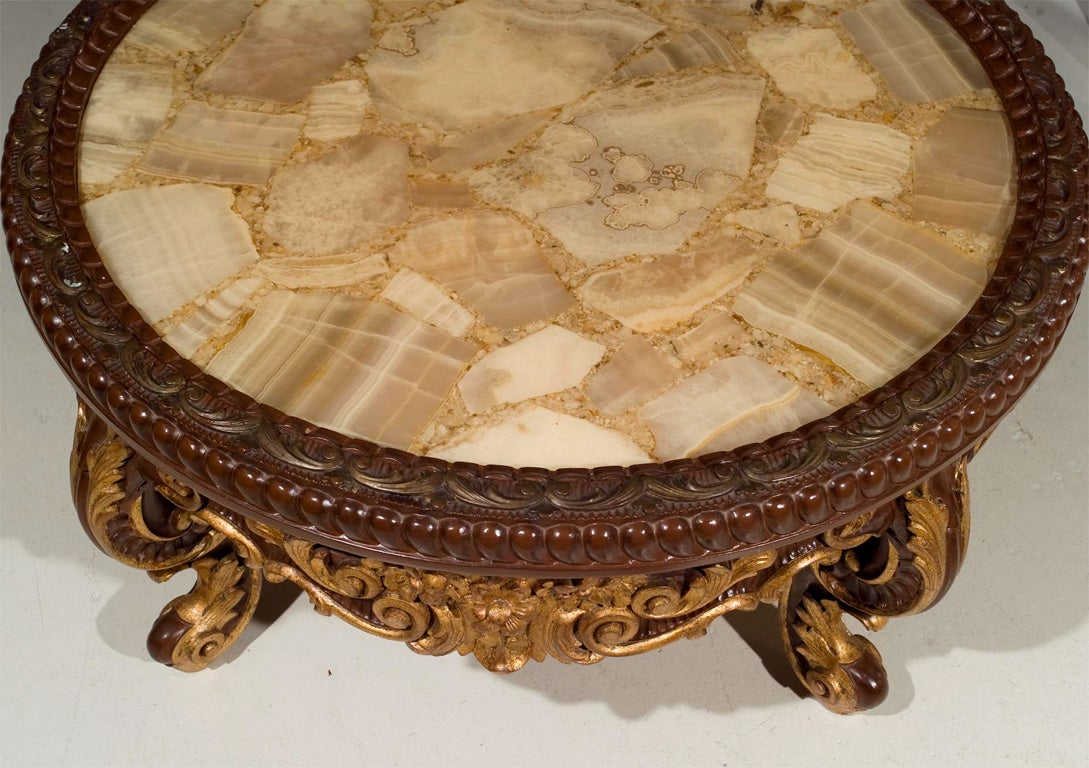 Continental Rococco Carved Wood and Gilded Marble Coffee Table 2