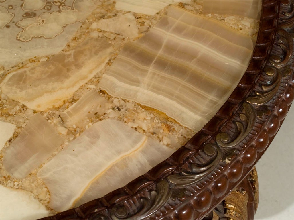 Continental Rococco Carved Wood and Gilded Marble Coffee Table 3