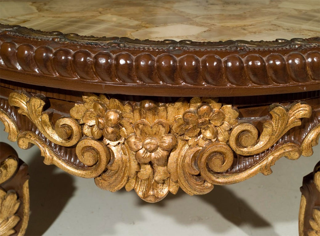 Continental Rococco Carved Wood and Gilded Marble Coffee Table 4