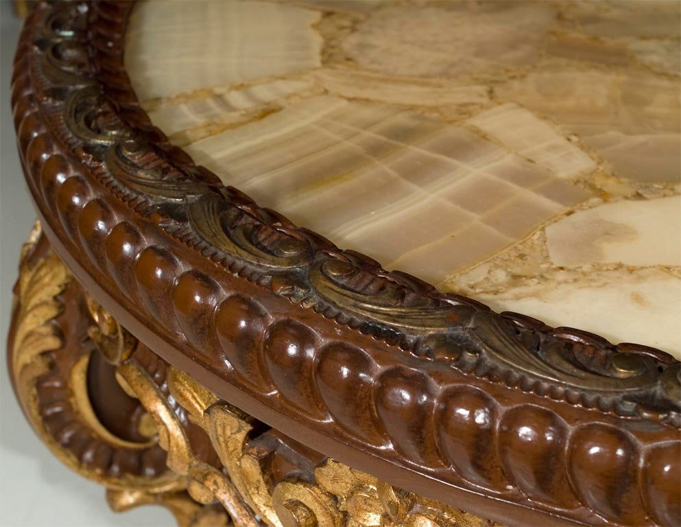 Continental Rococco Carved Wood and Gilded Marble Coffee Table 6