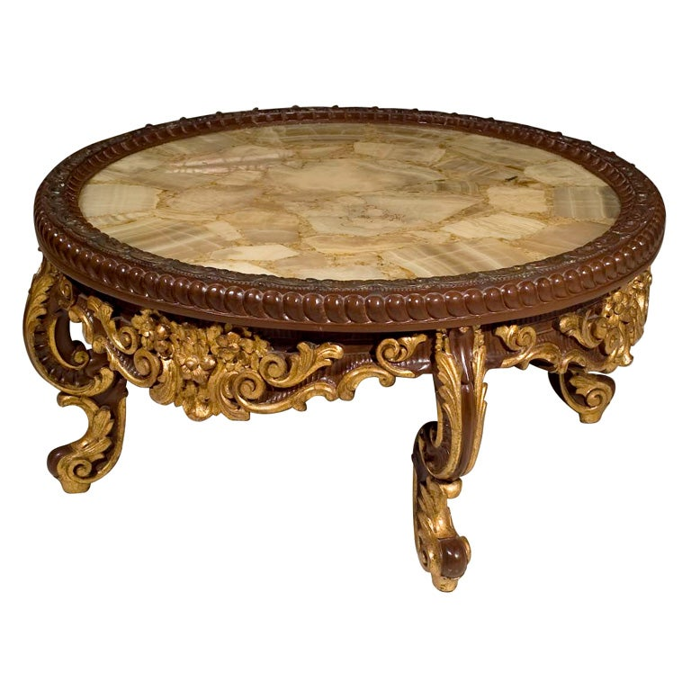Continental Rococco Carved Wood and Gilded Marble Coffee Table 1