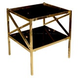 Pair of Brass Neoclassical Design End Tables