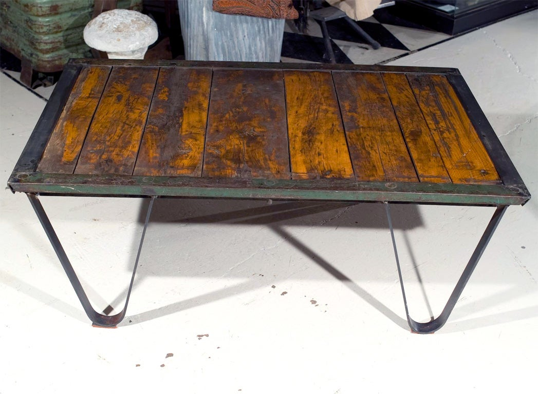 Industrial factory skid coffee table at 1stdibs industrial factory skid coffee table 2 geotapseo Gallery