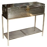 Polished Steel Travel Trunk on Stand