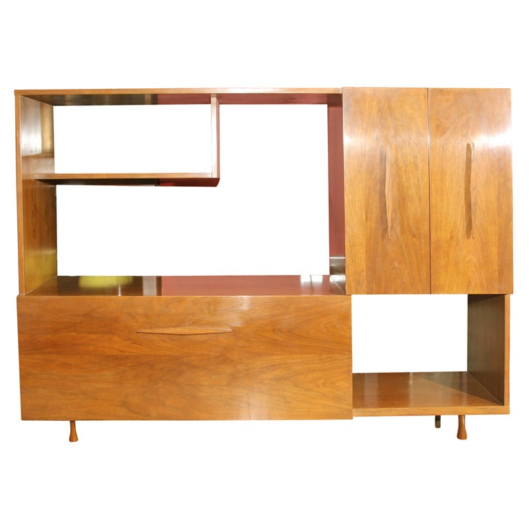 Mid Century Modern Open Display Shelf And Lighted Bar At