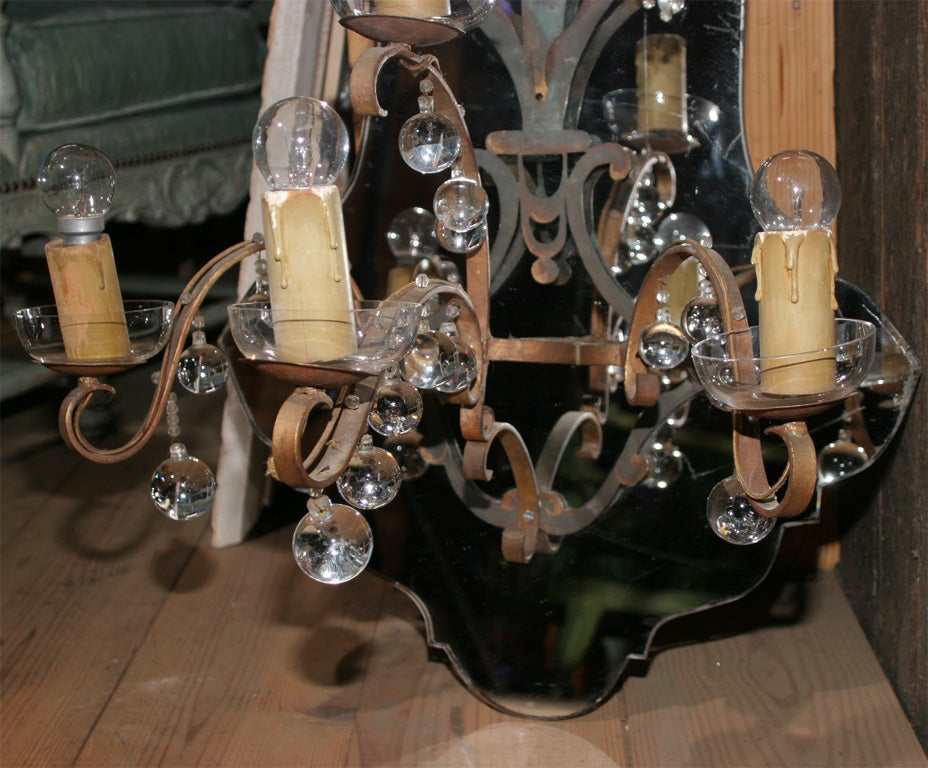 Mid-20th Century Large French Medallion Shaped Mirrored Sconce For Sale