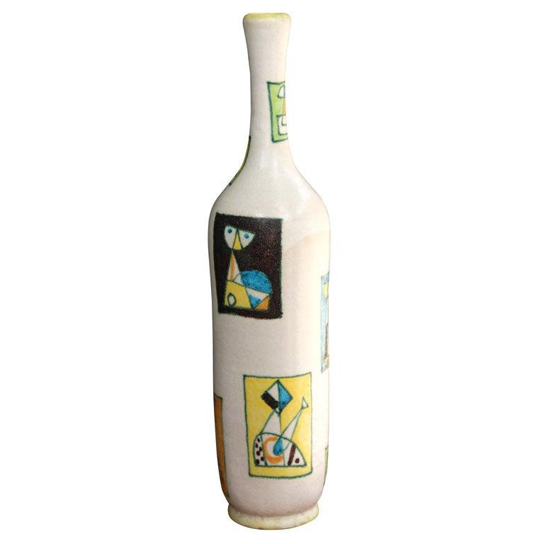 Ceramic Bottle Form Vase By Guido Gambone Italian 1950s At 1stdibs