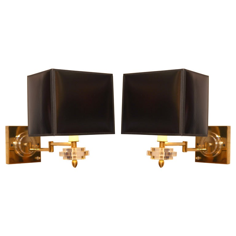 Brass and Lucite Swing Arm Wall Lamps at 1stdibs