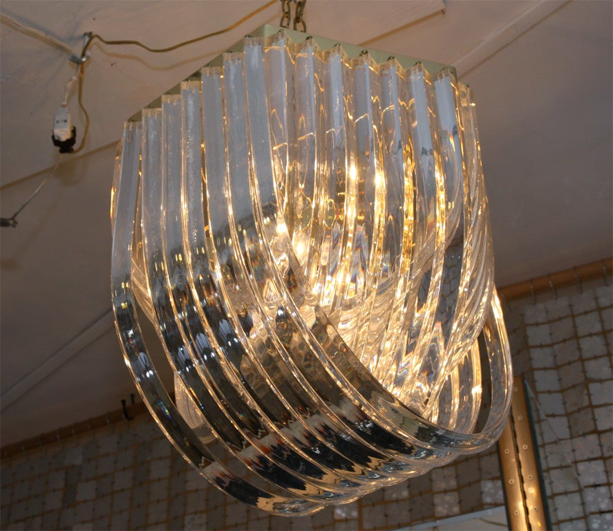 Sculptural Italian Lucite Chandelier For Sale At 1stdibs
