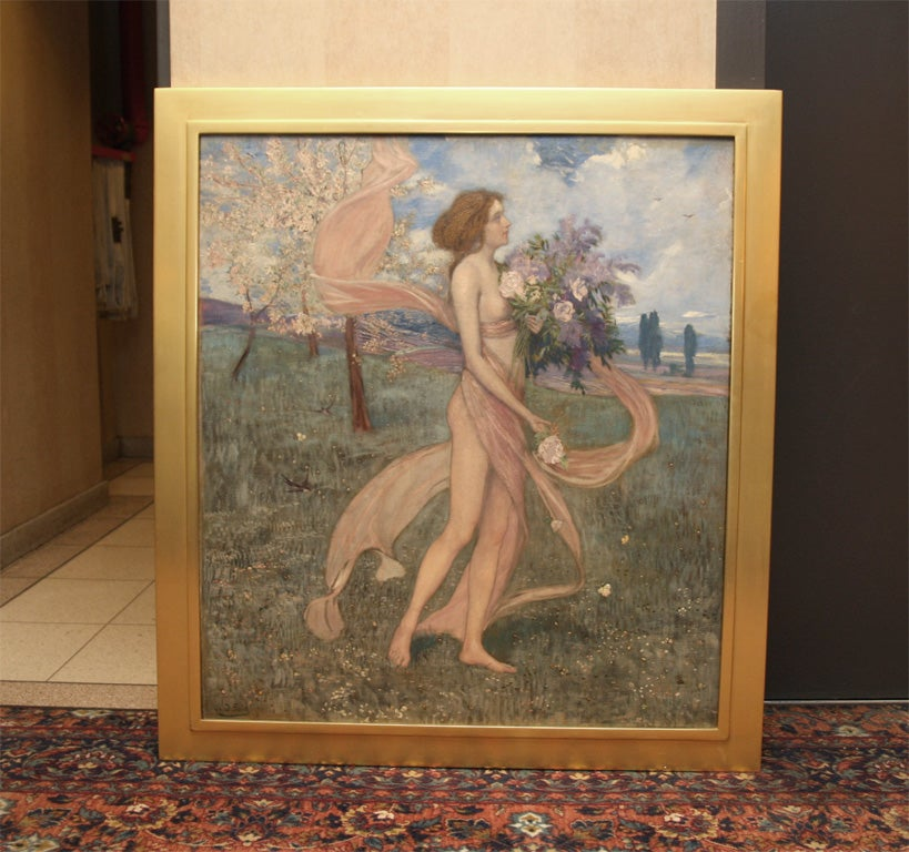 "Oil on canvas by Austrian artist Alexander Demetrius Goltz (1857-1944) depicting a spring allegory subject, from circa 1900. Titled ""Fruhling"" or ""Girl among blossoming trees"" and signed lower left. Framed."