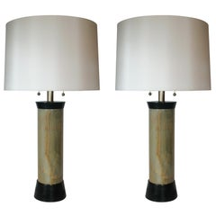 Pair of Architectural Onyx Table Lamps