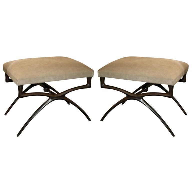 "Pair of Sculptural ""Atlante"" Benches by Alexandre Logé"