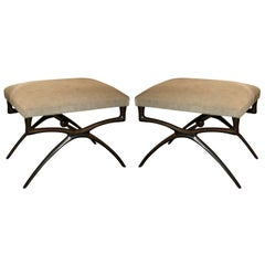 "Pair of Sculptural ""Atlante"" Benches by Alexandre Logé"
