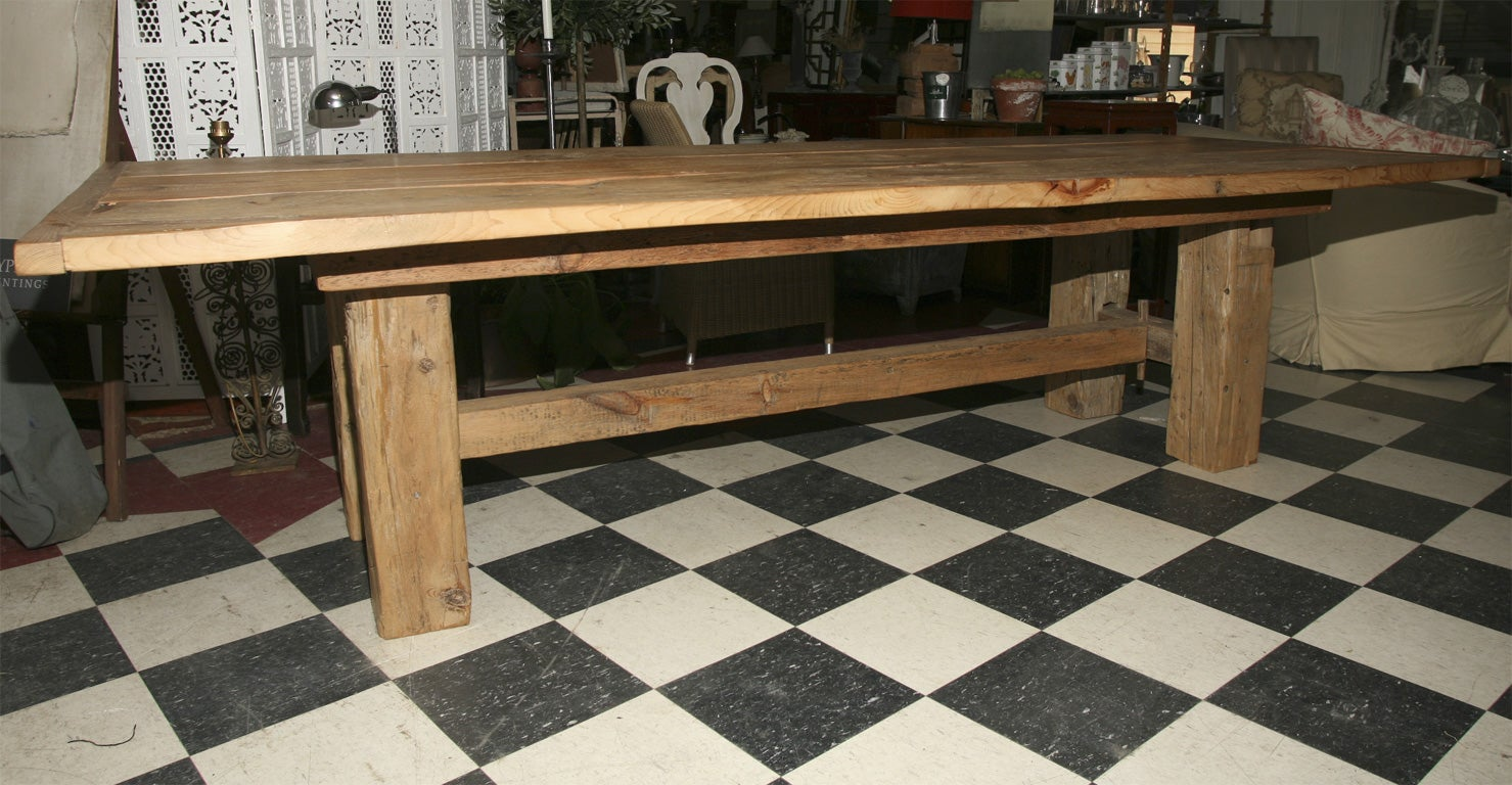 Custom Made Rustic Barn Beam Farm Table at 1stdibs