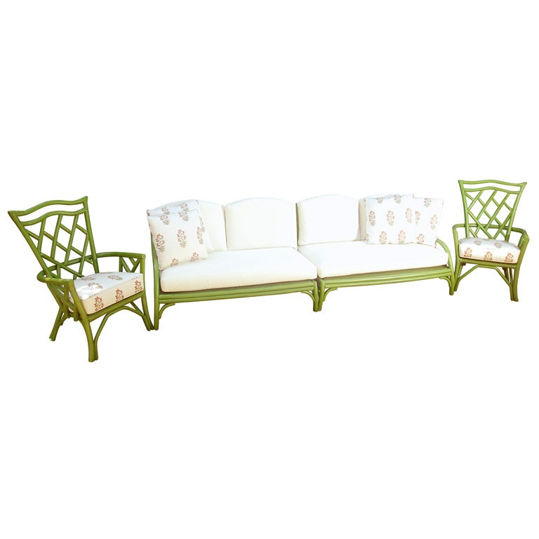 Retro Living Room Furniture Sets: Vintage Painted Rattan Sofa And Chairs At 1stdibs