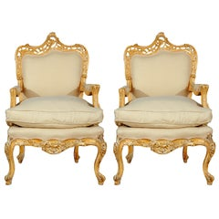 Pair of Continental Painted Armchairs C. 1920's