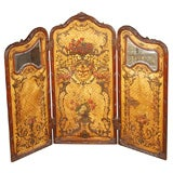 19th Century 3-Panel Painted Gold Leaf Floral Screen