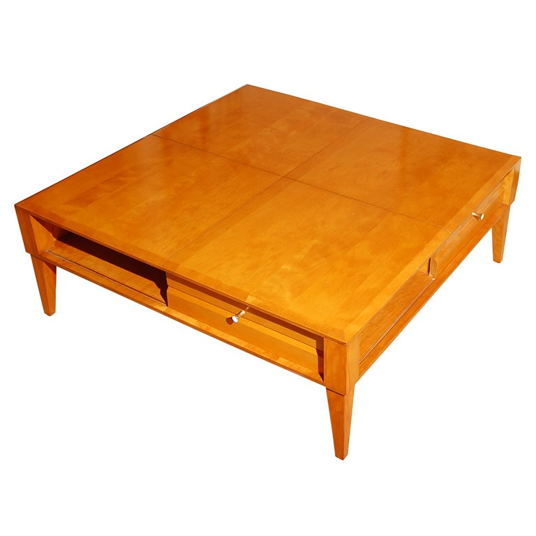 Dynamic Mid Century Square Birch Coffee Table At 1stdibs