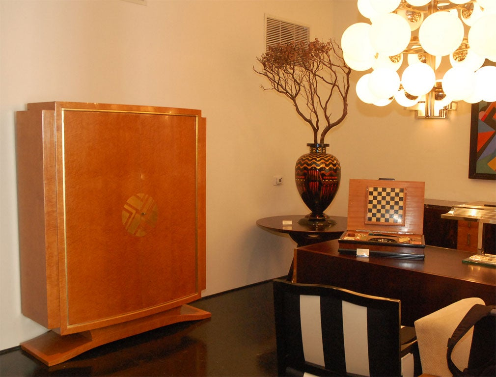 bird s eye maple armoire by l 39 atelier francais at 1stdibs. Black Bedroom Furniture Sets. Home Design Ideas