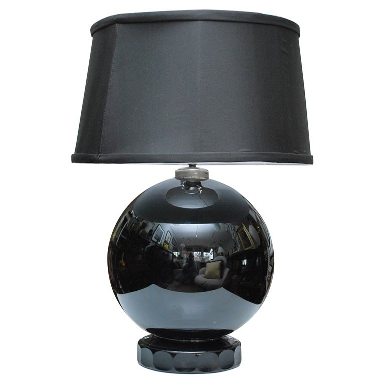 black glass lamp for sale at 1stdibs. Black Bedroom Furniture Sets. Home Design Ideas