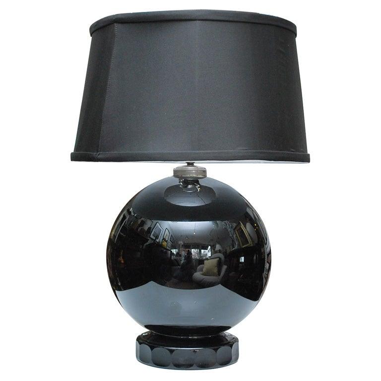 black glass lamp for sale at 1stdibs. Black Bedroom Furniture Sets. Home Design Ideas