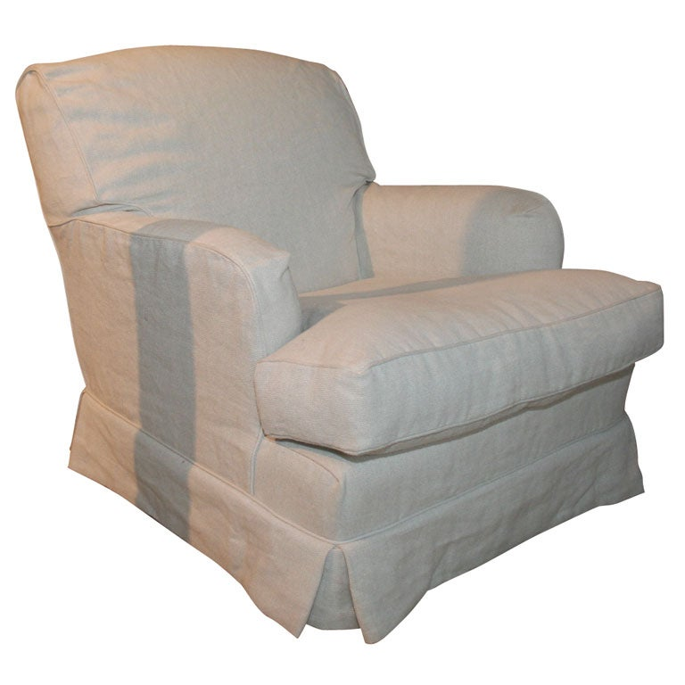 Club Chair With Linen Slipcover At 1stdibs