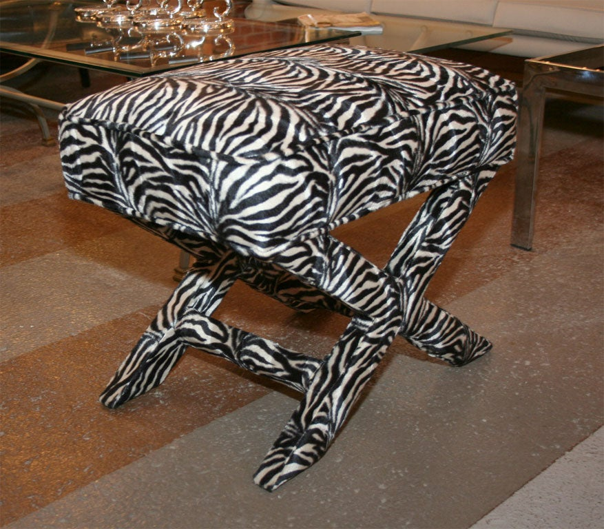 Pair X Benches Faux Zebra At 1stdibs
