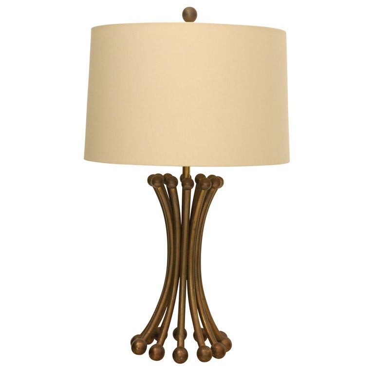 A Unique Bronze Table Lamp With Custom Linen Shade At 1stdibs