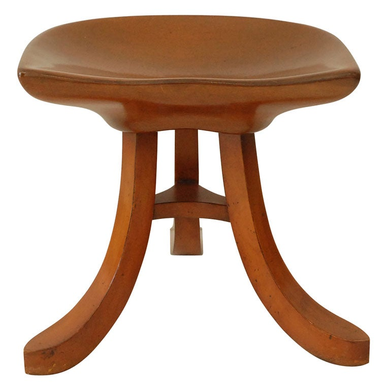 Lovely Wooden Three Legged Thebes Stool At 1stdibs
