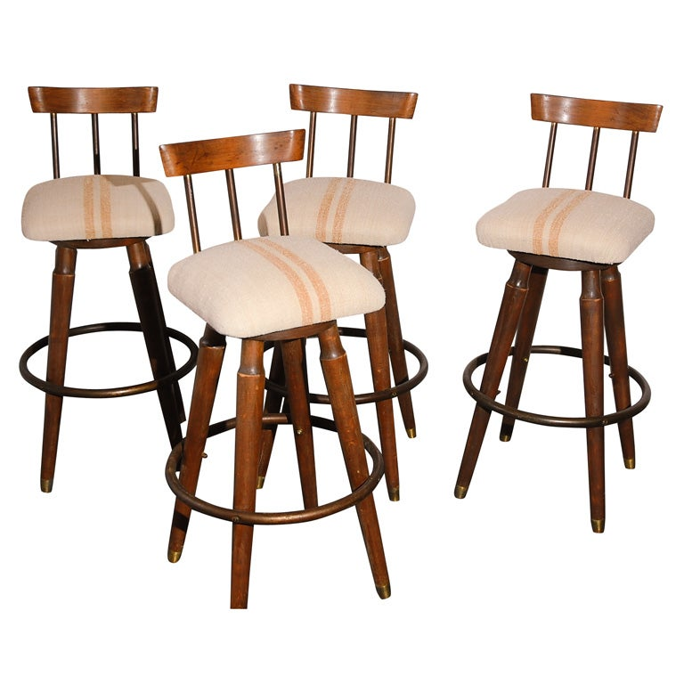 Set Of Four Bar Stools With Linen Seats From 1940 S At 1stdibs