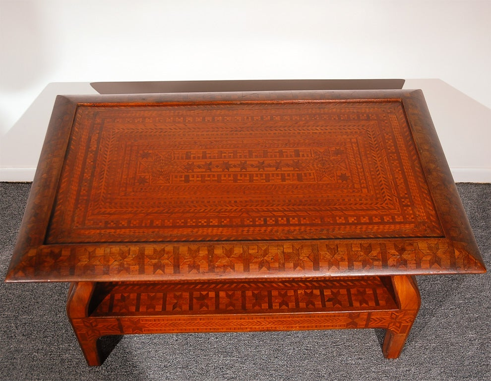 Rare 19thc Hand Made Folky Inlaid Coffee Table At 1stdibs