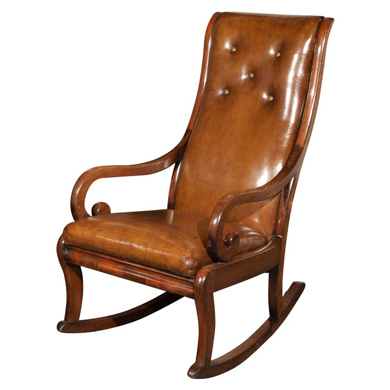 Antique english regency mahogany leather rocking chair at for Antique leather chairs