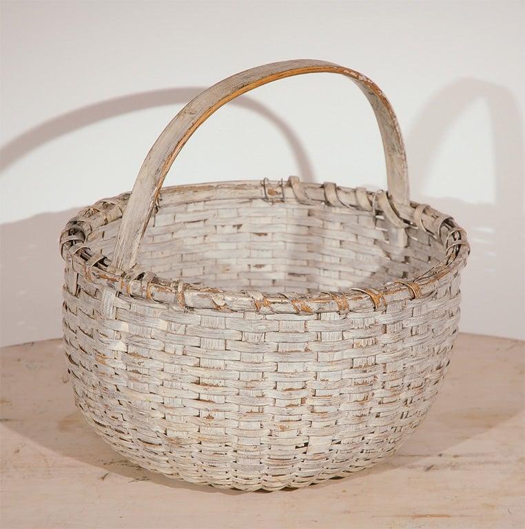 19thc Original White Painted Basket At 1stdibs