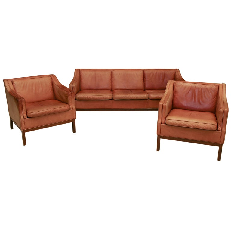 Leather Sofa Set 3 Piece At 1stdibs