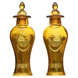 Pair of Handblown Amber Cut to Clear Crystal Covered Vases with Sailing Ships