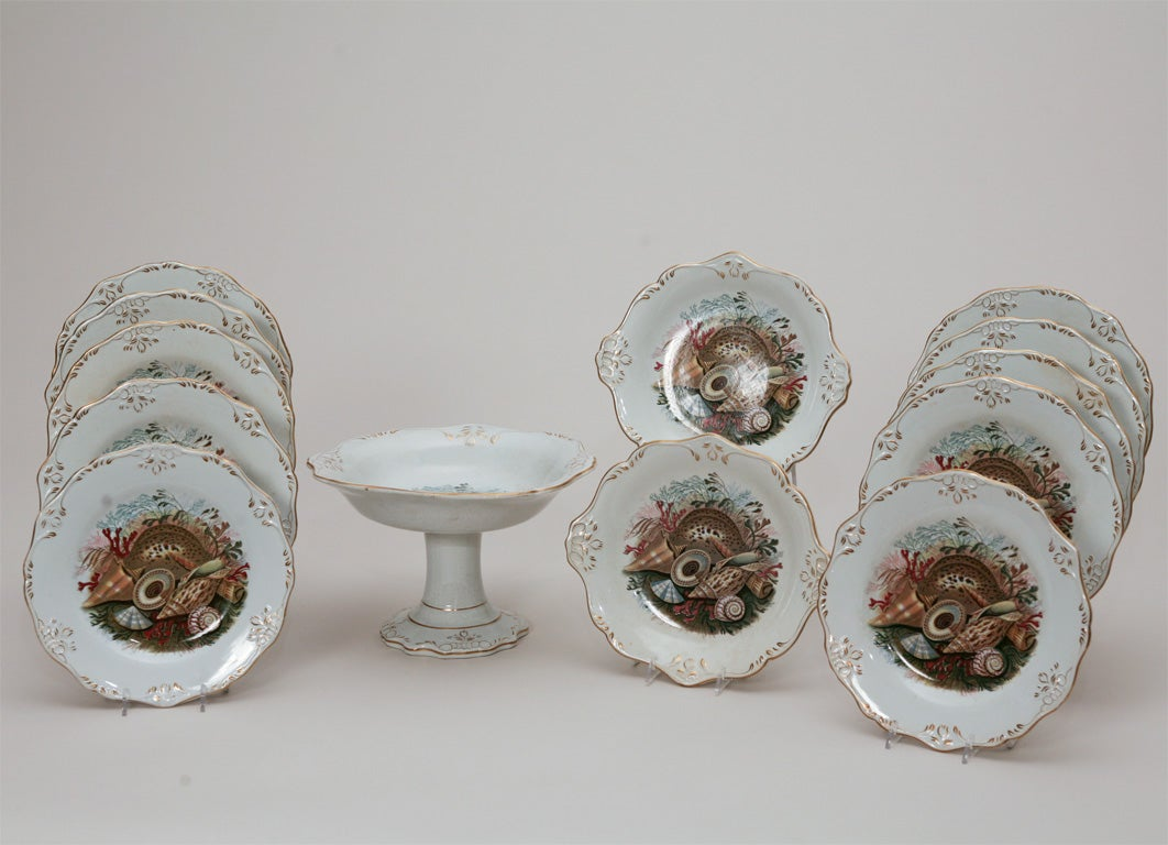 Decorative English Dessert Service with 10 plates, 2