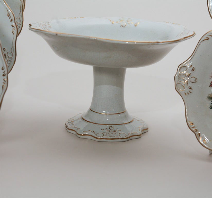 19th Century 19th C. English Dessert Set With Shells For Sale