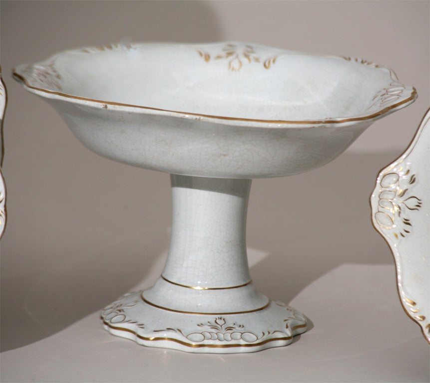 Porcelain 19th C. English Dessert Set With Shells For Sale