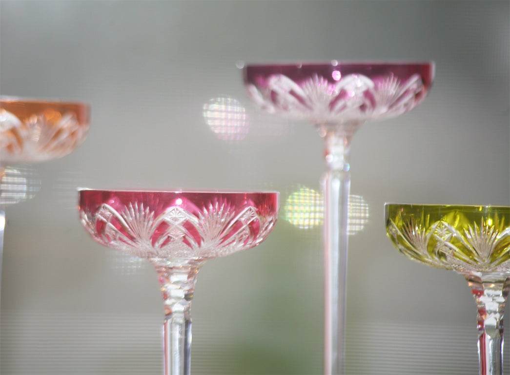 Set of 6 Baccarat Overlay Crystal Toasting Glasses 2