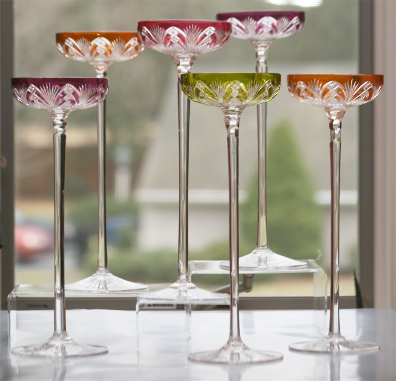Set of 6 Baccarat Overlay Crystal Toasting Glasses 5