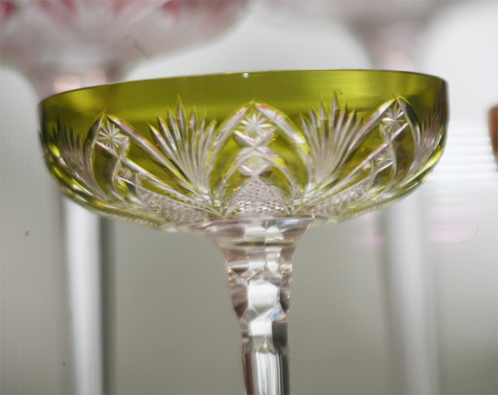 Set of 6 Baccarat Overlay Crystal Toasting Glasses 8
