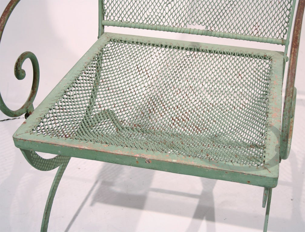 A Pair Of 19th Century Green Wrought Iron Garden Armchairs